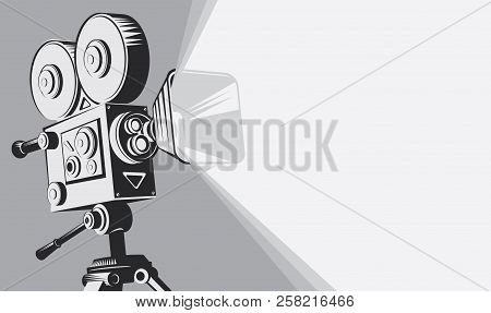 Vector Black And White Background With Lighting Old Fashioned Movie Camera On The Tripod. Can Used F
