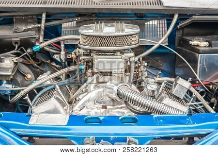 Engine Bay Of A High Performance Car