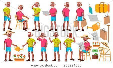 Old Man Poses Set Vector. Black. Afro American. Elderly People. Senior Person. Aged. Friendly Grandp