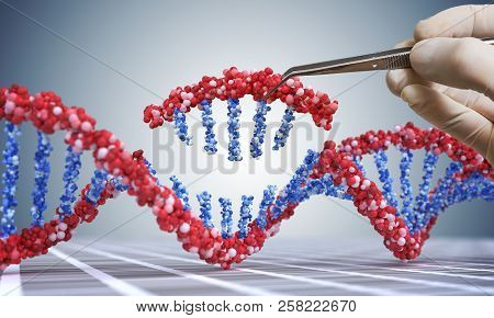 Genetic Engineering, Gmo And Gene Manipulation Concept. Hand Is Inserting Sequence Of Dna.  3d Illus