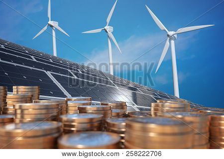 Economics Of Alternative Energy. Money In Front Of Solar Panels And Wind Turbunes. 3d Rendered Illus