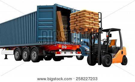 Modern Concept Of Loading And Unloading Cargo From Blue From Truck With Trailer With Building Materi