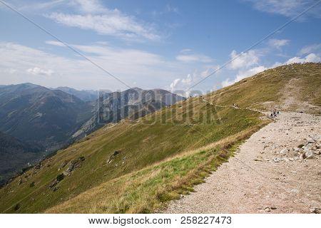 Tatra National Park, Poland. Pamoramic View Of The Mountains Landscape. Zakopane, Park Narodowy Wyso