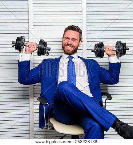 Man Raise Heavy Dumbbells. Boss Businessman Manager Raise Hands With Dumbbells. Sport Healthy Lifest