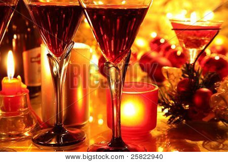 Closeup of glasses with red wine.