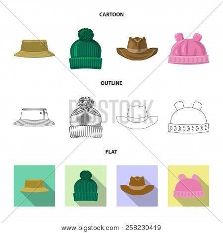 Vector Illustration Of Headwear And Cap Icon. Collection Of Headwear And Accessory Stock Vector Illu