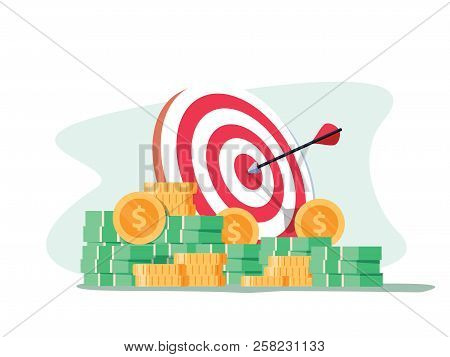 Target With Arrow And Pile Of Gold Coins. Goal Setting. Smart Goal. Business Target Concept. Achieve