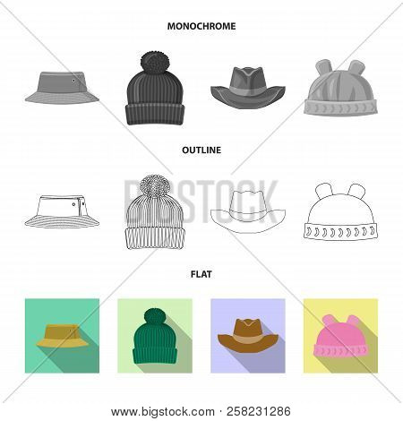 Vector Design Of Headwear And Cap Icon. Collection Of Headwear And Accessory Stock Symbol For Web.