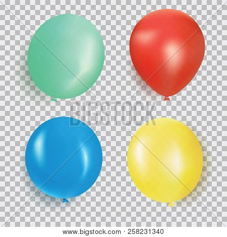 Balloon Of Different Color Realistic Design Vector Isolated On Transparent Background. Balloons Made