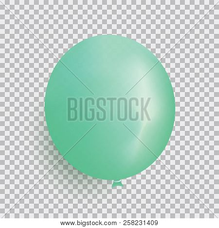 Balloon Of Green Color Realistic Design Vector Isolated On Transparent Background. Balloon Made From
