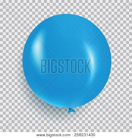 Balloon Of Blue Color Realistic Design Vector Isolated On Transparent Background. Balloon Made From