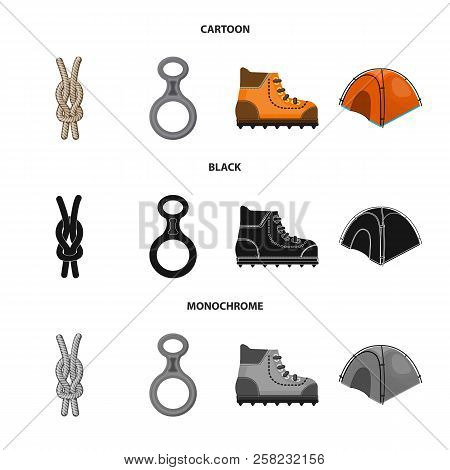 Isolated Object Of Mountaineering And Peak Logo. Set Of Mountaineering And Camp Stock Vector Illustr