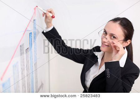 Businesswoman Writing On The Witeboard