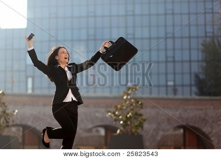 Excited Businesswoman