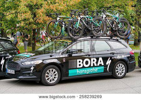 Ruzomberok, Slovakia - September 14: Pro Cycling Team At Second Stage Of Tour De Slovakia On Septemb