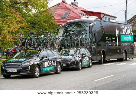 Ruzomberok, Slovakia - September 14: Pro Cycling Team Bus Tour At Second Stage Of Tour De Slovakia O