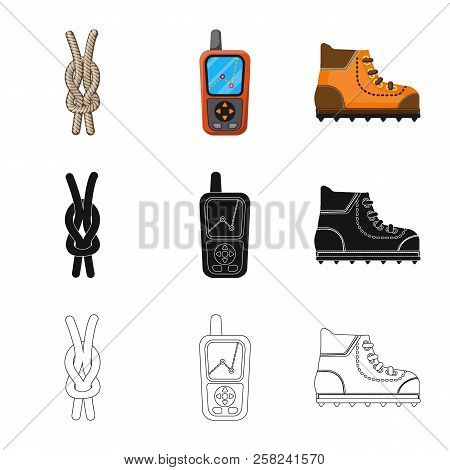 Vector Illustration Of Mountaineering And Peak Symbol. Collection Of Mountaineering And Camp Stock S