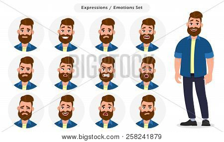Set Of Male Facial Different Expressions. Man Emoji Character With Different Emotions. Emotions And