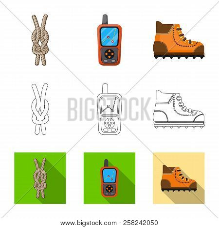 Vector Design Of Mountaineering And Peak Sign. Collection Of Mountaineering And Camp Vector Icon For