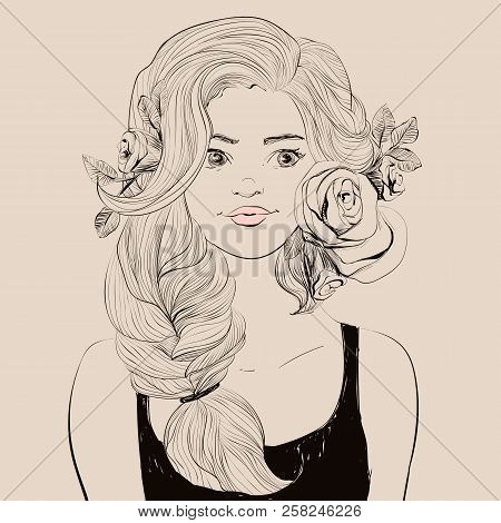 Young Beautiful Woman With Flowers And Tail Hairstyle. Vector Illustration.