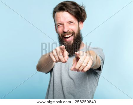 Ha Ha Loser. Young Bearded Hipster Man Mocking And Laughing At Viewer Pointing Fingers. Mockery Humi