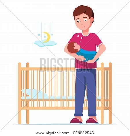 Vector illustration of a young father laying a sleeping newborn in a cot. Man is holding a sleeping baby in his arms next to a baby crib. Boy and a sleeping infant. Flat style. poster