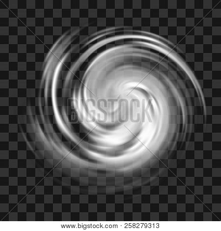 Hurricane Symbol, Tornado, Typhoon, White Swirl Clouds, Twister On Dark Transparent Background, Top