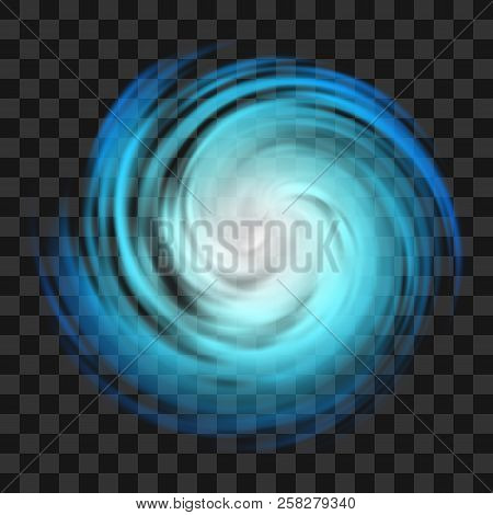 Blue Hurricane Symbol, Tornado, Typhoon, White Swirl Clouds, Twister On Dark Transparent Background,