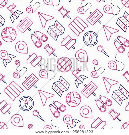 Location Seamless Pattern With Thin Line Icons: Pin, Pointer, Direction, Route, Compass, Wall Needle