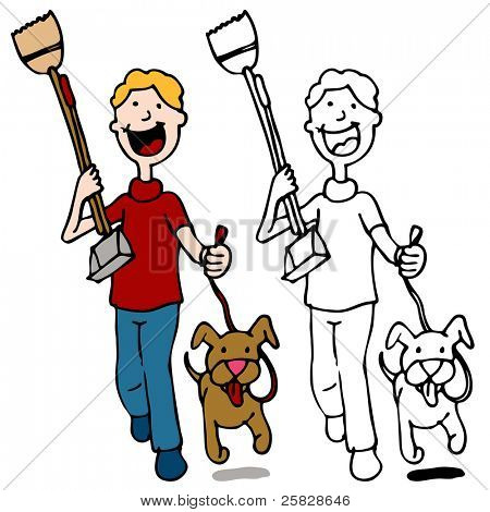 An image of a man walking dog holding a pooper scooper.