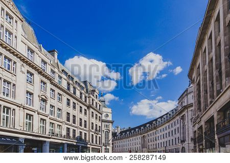 London, United Kingdom - August 21st, 2018: Architecture In London City Centre In Regent Street