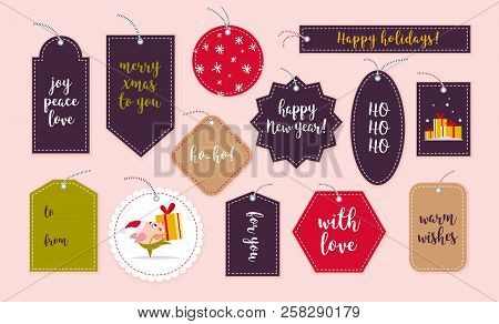 Vector Collection Of Christmas Gift Tags And Badges Isolated On Light Background. Emblems For Xmas H