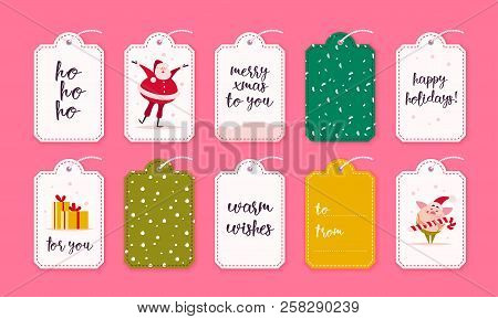 Vector Collection Of Christmas Gift Tags And Badges Isolated On Pink Background. Emblems For Xmas Ho
