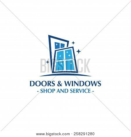 Doors And Windows Logo. Doors Shop And Service. Windows Shop And Service. Vector And Illustration.