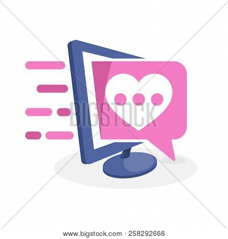 Vector Icon Illustration With Digital Media Concepts About Online Dating