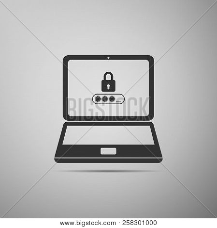 Laptop With Lock And Password Form Page On Screen Icon Isolated On Grey Background. Laptop With Pass