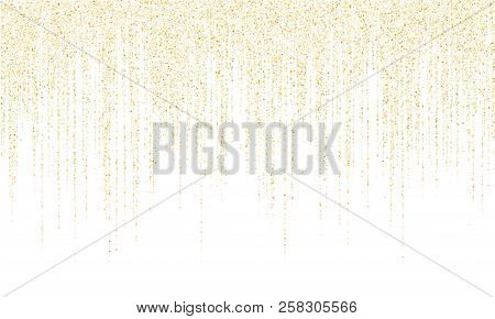Square Confetti Gold Garlands Vector Illustration On White. Glowing Hanging Garlands Made Of Square