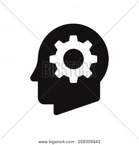 Cog In Head Icon Isolated On White Background. Cog In Head Icon In Trendy Design Style. Cog In Head