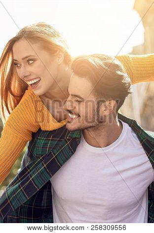 Smiling Beautiful Couple Dating Outdoors.