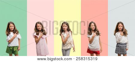 Collage of brunette hispanic girl wearing different outfits cheerful with a smile of face pointing with hand and finger up to the side with happy and natural expression on face looking at the camera.