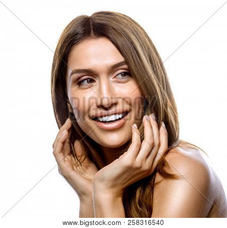 attractive young smiling woman portrait on white background stud?o shot face sk?n ha?r hands teeth