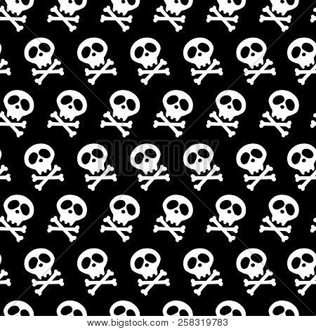 Halloween Design And Decoration. White Skull And Bones Crossed. Vector Illustration. Seamless Black