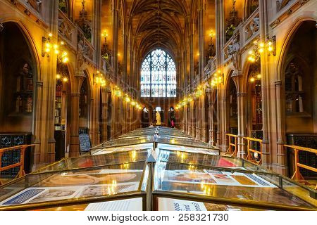 Manchester, Uk - May 18 2018: John Rylands Library Built In 1988 By Enriqueta Rylands, His Wife Afte