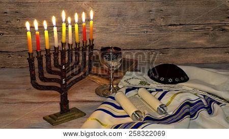 Jewish Holiday, Holiday Symbol Hanukkah Brightly Glowing Hanukkah Menorah Shallow Depth Of Field
