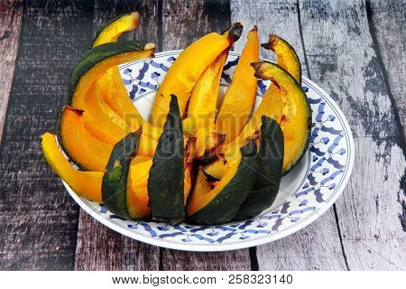 Grilled Japanese Pumpkin,delicious Vegetable Commonly Used In Savory And Sweet Dishes, Cooking.