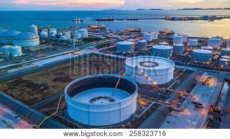 Aerial View Oil Terminal Is Industrial Facility For Storage Of Oil And Petrochemical Products Ready