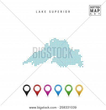 Dots Pattern Vector Map Of Lake Superior. Stylized Simple Silhouette Of Lake Superior. Set Of Multic