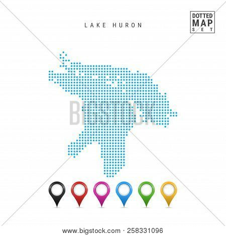 Dots Pattern Vector Map Of Lake Huron. Stylized Simple Silhouette Of Lake Huron. Set Of Multicolored