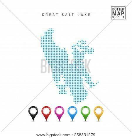 Dots Pattern Vector Map Of Great Salt Lake, Utah. Stylized Simple Silhouette Of Great Salt Lake. Set
