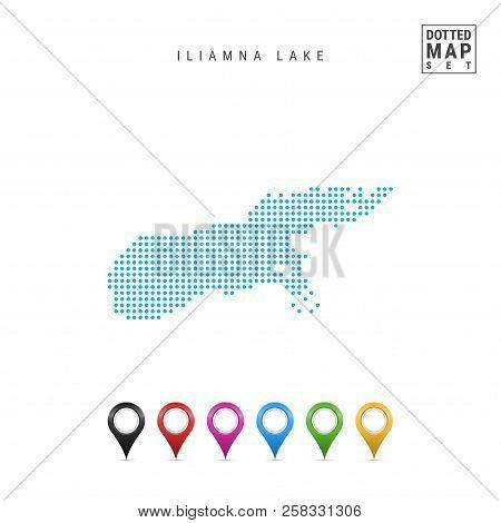 Dots Pattern Vector Map Of Iliamna Lake, Alaska. Stylized Simple Silhouette Of Iliamna Lake. Set Of